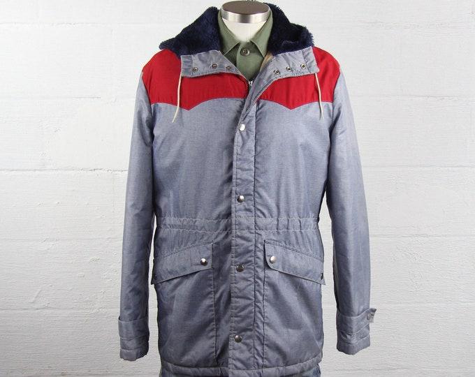 Men's 70's Winter Coat Ski Jacket Insulated Winter Jacket Size Medium Large