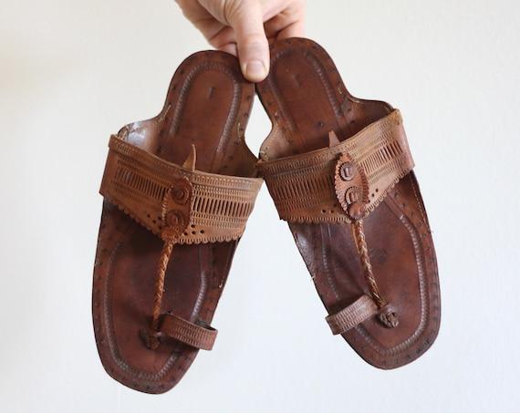 Leather Hippie Desert Sandals Tooled Flip Flops Men's 8.5 Men's 9 Summer Sandal Shoe Unique