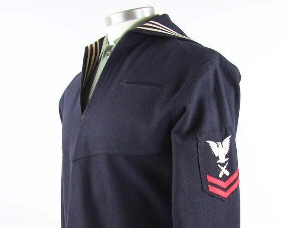 Men's Sailor Shirt Navy Military Shirt Long Sleeve Wool Pullover Uniform Size Medium