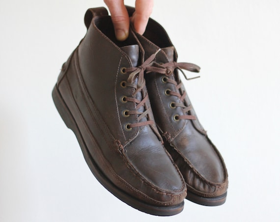 Brown Leather Boots Desert Chukka Lace Up Ankle Shoes Size Men's 8.5 Women's 10