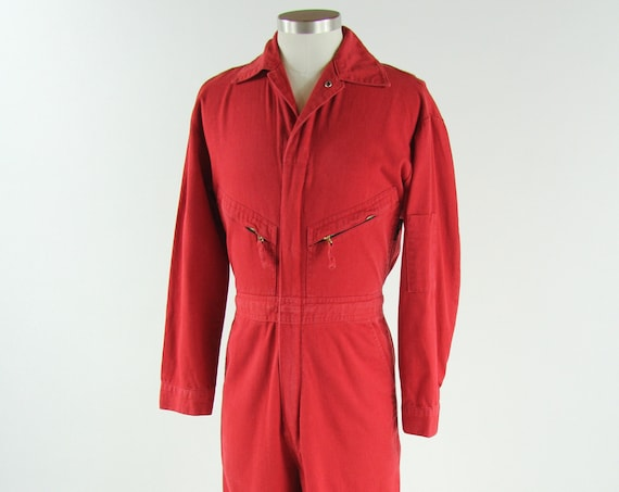 Red Cotton Mechanic Coveralls Jumpsuit Vintage Size 36 Regular Men's Small /Medium