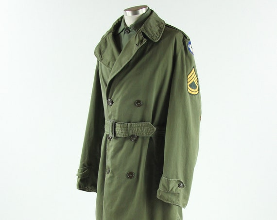 Men's Military Trench Coat Olive Green Winter Coat with Patches OG-107 Size Long Medium