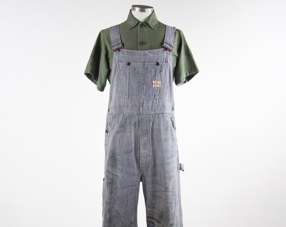 Pay Day Vintage Pinstriped Overalls Penney's 50s Mechanic Work Overalls Grunge Distressed Vintage Size Medium / Large