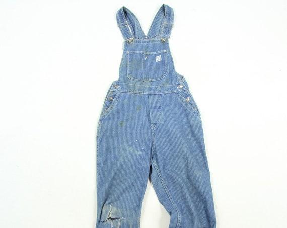 Levis Pin Striped Vintage Overalls Denim Jean Slim Fit Overalls Size Small / Medium