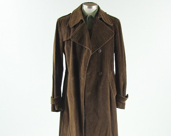 70's Brown Corduroy Trench Coat Long Jacket Vintage Size Medium