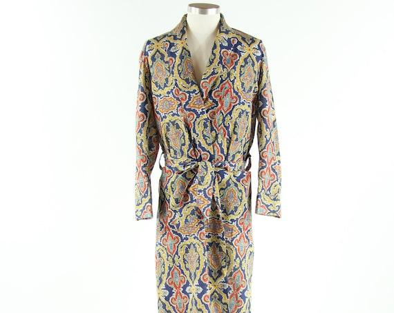 Sears 60's Paisley Cotton Bath Robe Vintage Unworn Size Small / Medium