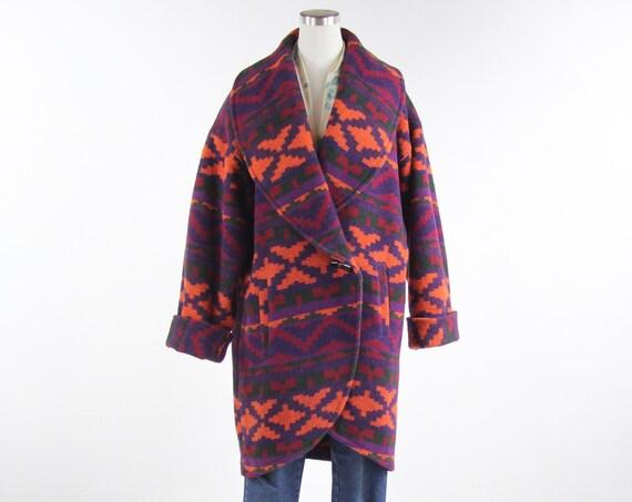 Colorful Women's Winter Purple Orange Coat Union Made Vintage Size Medium