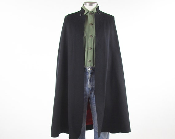Navy Wool Military World War II Cape with Red Lining One Size