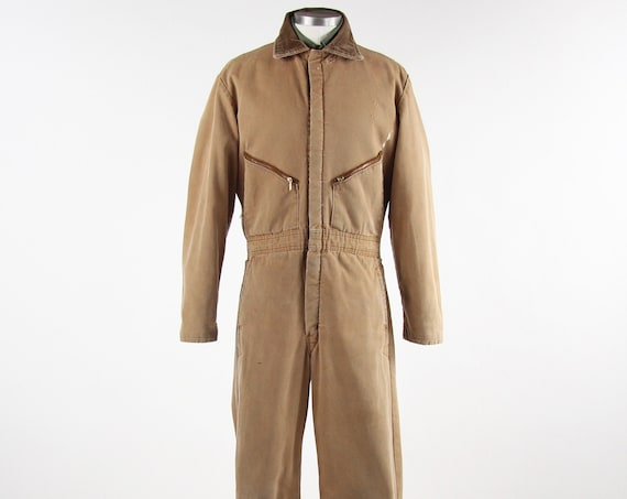 Walls Vintage Brown Coveralls Insulated Mechanic Jumpsuit Made in USA Men's Size Medium