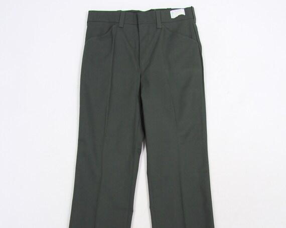 Men's Utility Pants Deadstock Green Slacks Vintage Size 33 x 36.5 (Raw Hem)