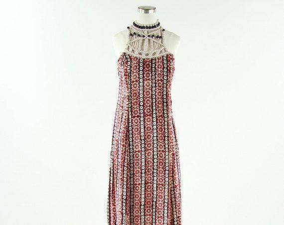 Velvet Boho Women's Vintage Dress Floor Length / Sleeveless Vintage Small
