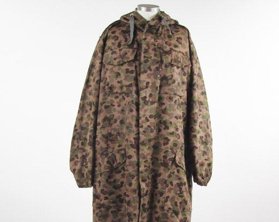 """1968 Austrian Military Coat """"Arbeitsgemeinschaft Deutschlandberg"""" Trench Jacket Size Large / XL"""