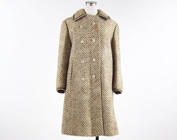 Women's Brown 50's Double Breasted Coat by Jordan Marsh Vintage Size Medium Made in the USA