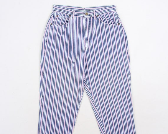 Chic Pinstripe Women's Pink and Blue Vintage Denim Jeans Pants Size 14 31x29.5