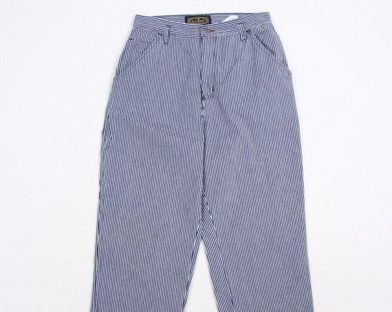 Pinstripe Women's Bonjour Vintage Denim Jeans Carpenter Pants Size 11/12 30x30.25