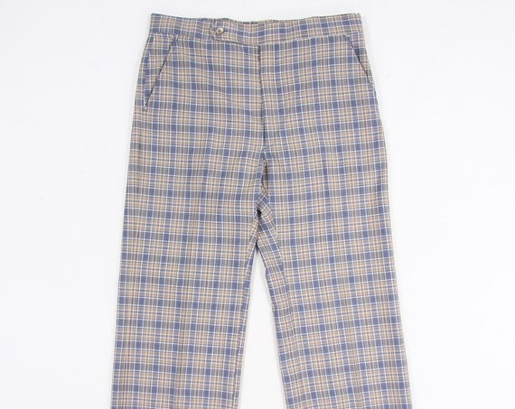 Plaid Polyester Men's Pants Vintage Size
