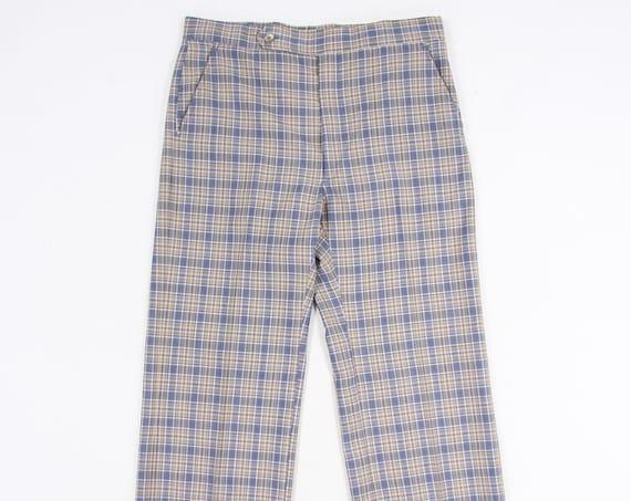 Plaid Polyester Men's Pants Vintage Size