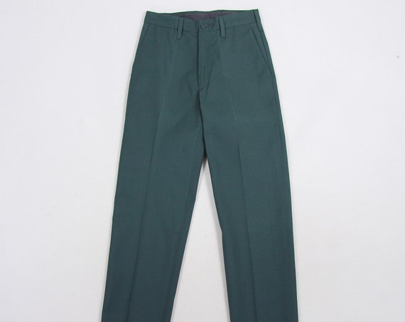 Red Kap Pants Green High Waisted Men's Pants Utility Work Slacks Vintage Size 28x34.75 (Raw Hem)