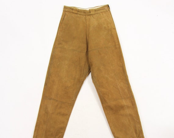 Bullseye Bill Men's Brown Distressed Wax Canvas Hunting Pants Vintage Size 28x28