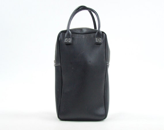1970 Black Pleather Wine Bottle / Spirits Bag Vintage Tote