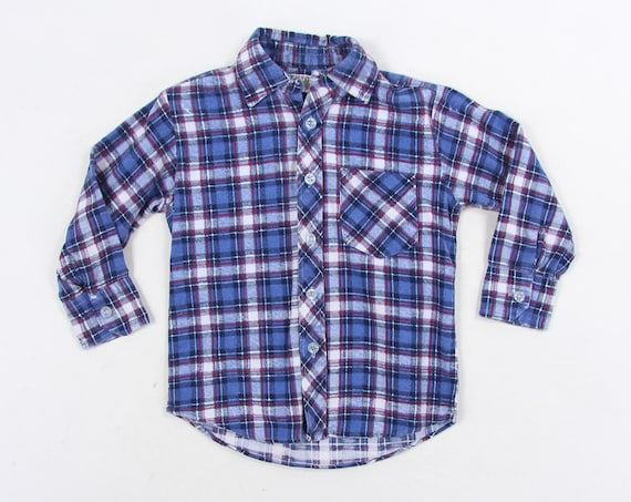 Kids Blue Flannel Montgomery Ward Plaid Vintage Button Down Shirt Size 4