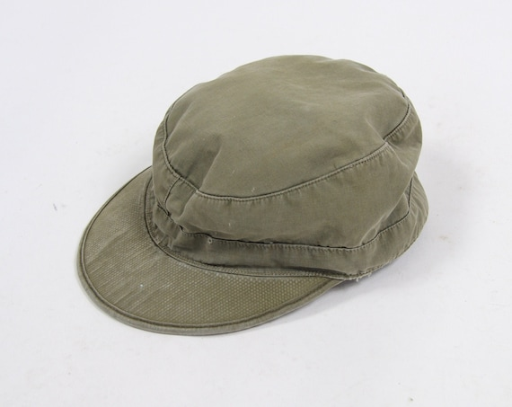 "1943 WWII Vintage Military Hat ""Cap. Field Cotton O.D. with Visor"" Size 7 - 7 1/2 Medium Large"