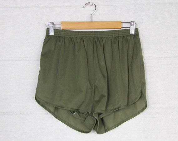 90's Soffe Green Short Shorts Athletic Lined Running Shorts Vintage Size Small
