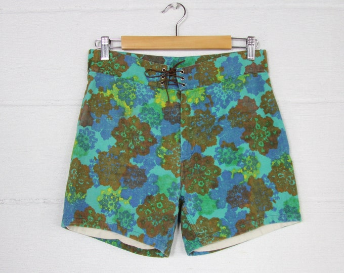 1960's Men's Colorful Swim Shorts Psychedelic Hawaiian Board Shorts Vintage Size 30