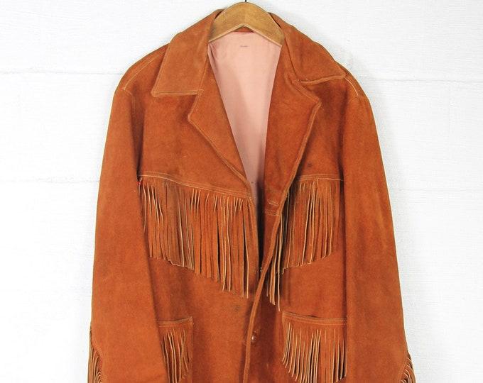 Burnt Orange Suede Leather Coat Vintage Brown Hippie Fringe Jacket Vintage Size Small Medium