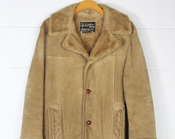 70's Suede Leather Light Brown Coat Chore Work Farm Coat Long Jacket Vintage Size Medium