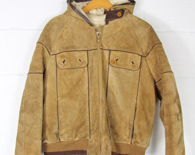 Brown Suede Leather Zip Up Jacket 70'S Coat with Fur Lining and Hood Men's Size Medium