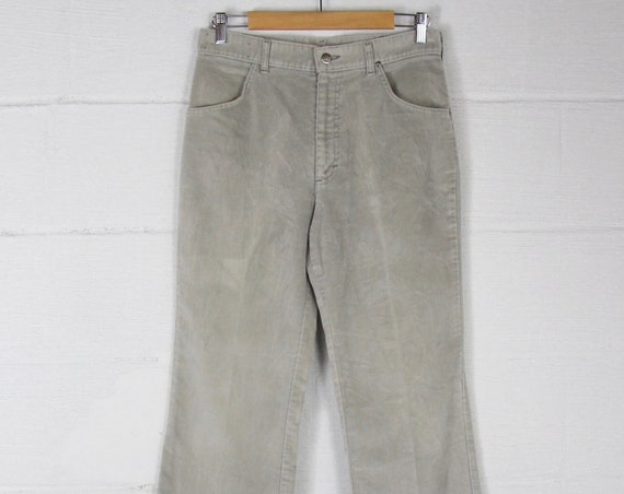 RARE 70s Velour Lee Boot Cut Pants Slate Gray Pants