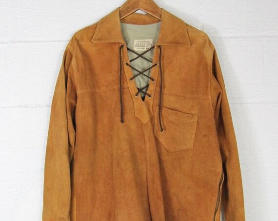 70's Suede Leather Orange Brown Vintage Pullover Shirt with Ties and Zippers Size Medium