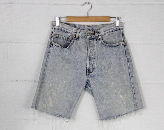Light Wash Stone Wash Acid Wash Distressed Grunge Punk 90's Levi's Red Tab Button Fly Jean Shorts Cutoffs Size 30