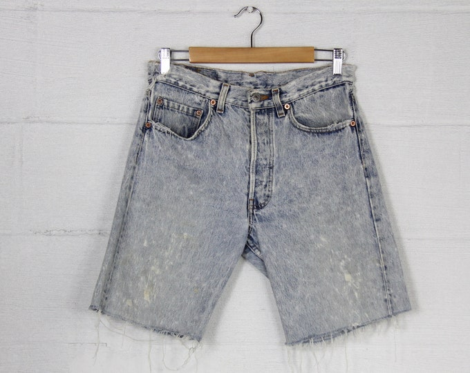 Light Wash Stone Wash Acid Wash Distressed Grunge Punk 90's Levi's Red Tab Button Fly Jean Short Shorts Cutoffs