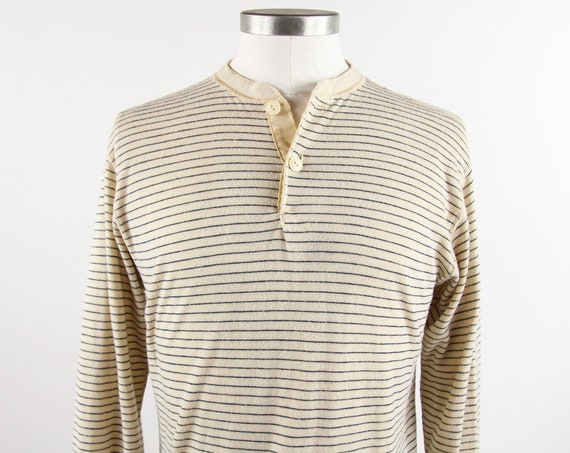 Striped Henley Shirt 50/50 Long Sleeve Thermal Tee Blue Cream Size Medium Made in the USA