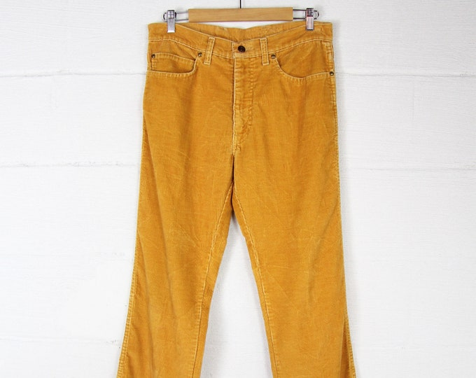 Men's Corduroy Pants Golden 70's High Waisted Pants Made in the USA 32x33