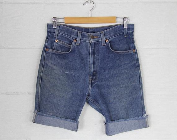 Levi's 505 Dark Wash Faded Distressed Jean Cutoff Shorts Jorts Vintage Size 31