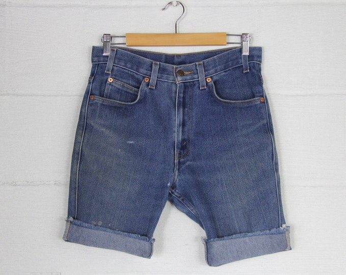 Levi's Dark Wash Faded Distressed Jean Cutoff Shorts Jorts Vintage Size 30 31