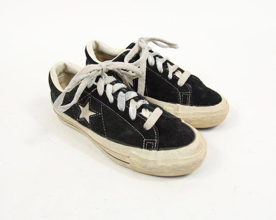 RARE Converse One Star Low Top Lace Up Black Suede Leather Shoes / Sneakers Women's Shoes Size 3.5 Made in USA