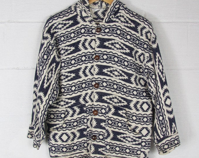 Patterned Hoodie Button Down Navy and White Vintage Western Navajo Aztec Size Medium Large