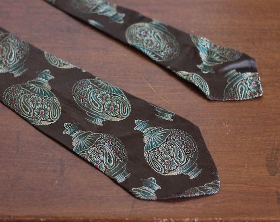 Psychedelic Ornament 70s Tie Vintage Olive Green Dark Brown Unique Necktie