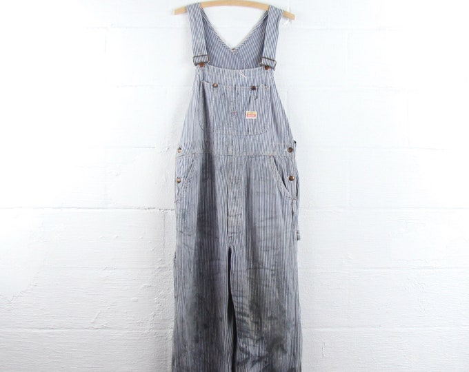 Pay Day Vintage Pinstriped Overalls Penney's 50s Mechanic Work Overalls Grunge Distressed