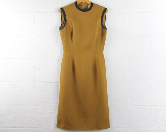 50s Mod DESIGNER Secretary Dress Anne Fogarty Mustard Brown Sleeveless Vintage Formal