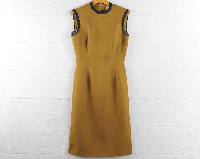 50s Mod DESIGNER Secretary Dress Anne Fogarty Mustard Brown Sleeveless Vintage Formal