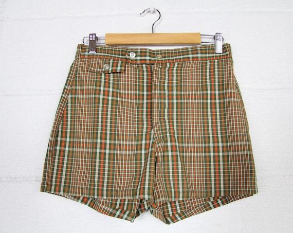1970's Men's Plaid Swimsuit Shorts Summer Swim Suit Vintage Size 28 - 32