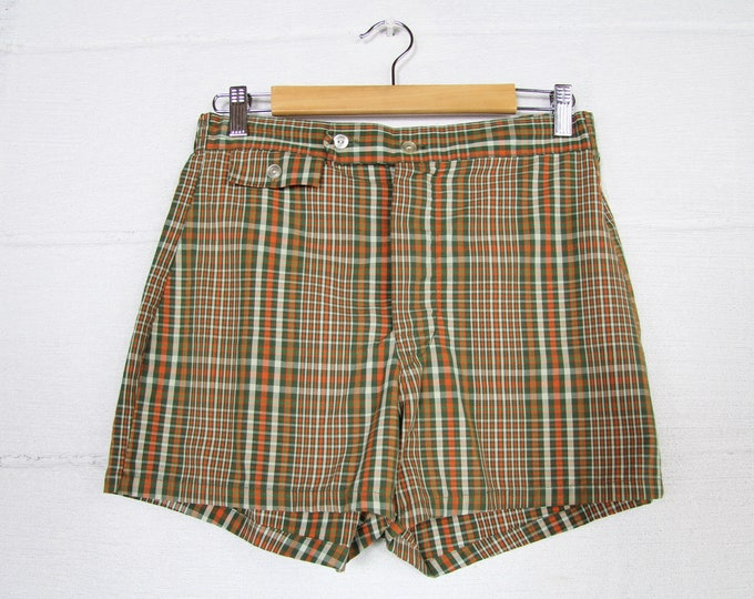 1970's Men's Plaid Swimsuit Shorts Summer Swim Suit Vintage Size 28 - 32