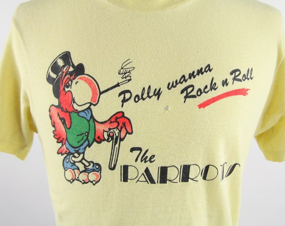 The Parrots T-Shirt Yellow 70's / 80's Rock N Roll Band Tee Shirt Vintage Size Small