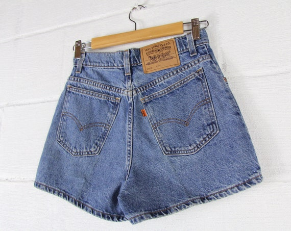 70's Orange Tab Levi's Denim Shorts Vintage Size Small 912 Slim Fit 26 Waist