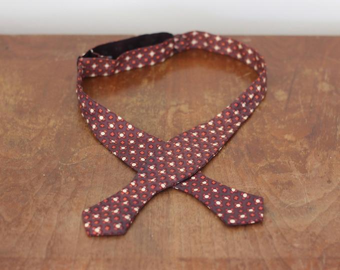 Vintage Bowtie Brown Orange Cream Patterned Tie Necktie Slim 60s Adjustable Unique Gift